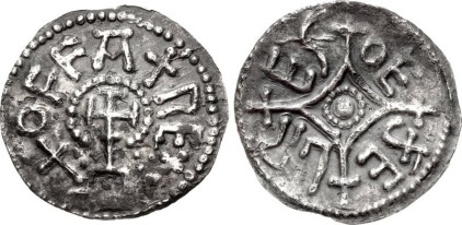 ANGLO-SAXON, Kings of Mercia. Offa. 757-796. AR Penny (17.5mm, 1.21 g, 9h). Light coinage. Mint in East Anglia; Oethelred, moneyer. Struck circa 785/90-792/3. + OFFA + RE+ around cross potent on steps, within which an inverted T-like device / OE đE LR ES in the angles of a lozenge cross crosslet with small rosette in center. Chick 176; SCBI –; BMC –; North –; SCBC 907