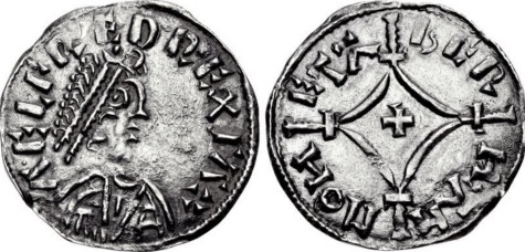 ANGLO-SAXON, Kings of Wessex. Alfred the Great. 871-899. AR Penny (19mm, 1.30 g, 12h). Cross-and-Lozenge type (BMC v). Uncertain mint; Beorheah(?), moneyer. Struck circa 877-880s. ΛELFRED REX SΛX, diademed bust right / BERHAH MOHETΛ, cross pattée within lozenge over long beaded cross; crossbars at lozenge ends. Blackburn & Keynes Cantebury B style (moneyer unrecorded); BMC -; North 629; SCBC 1058. Near EF, darkly toned. Unrecorded moneyer for issue. Excellent style. Extremely rare