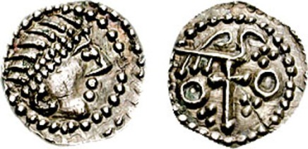 Anglo-Saxon Secondary Sceattas of Northumbria, York. ca 720s AD. AR Sceatta, Series J, Type 85. Diademed head right / bird perched right on cross; quatrefoil, trefoils, & annulets in field. Metcalf 293; North 128