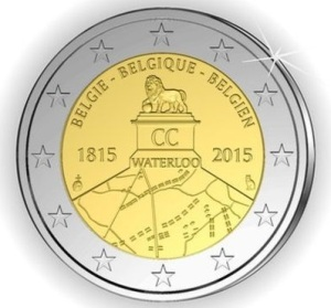 Belgium commemorative €2 coin celebrating the 200th Anniversary of the Battle of Waterloo. This coin was withdrawn following written objections by the French government