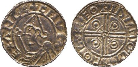 Cnut (1016-1035) , penny, helmet type, Leofinc of Lincoln, helmeted bust l