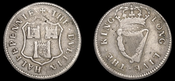Dublin Corporation, Halfpenny, 1679, in silver, arms of Dublin, · the · dvblin · halfpennie ·, rev. crowned harp, · long · live · the · king ·, edge grained, 9.14g/12h (DF 349, not listed in silver). Obverse fine, reverse better, of the highest rarity; believed to be the only known specimen in silver