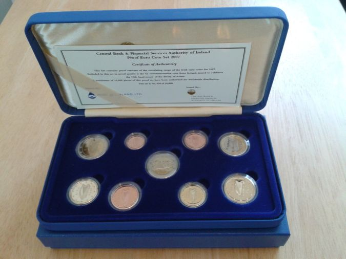 Ireland 2007 Proof Euro Coin - Set of nine coins, incl. 2007 Treaty of Rome €2 commemorative