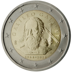 Italy 2015 special €2 commemorative coin - 450th Anniversary of the birth of Galileo Galilei (born in 1564)