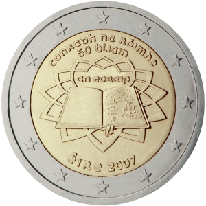 Ireland's first commemorative €2 coin - issued jointly by all 13 Euro Zone member states in 2007.  The 4 micro-states are excluded from issuing these coins.