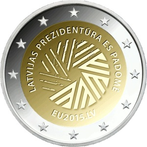 Latvia commemorative €2 coin 2015 - Presidency of the Council of the European Union