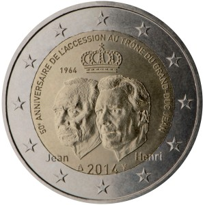 Luxembourg 2015 special €2 commemorative coin -  50th anniversary of the accession to the throne of the Grand-Duke Jean