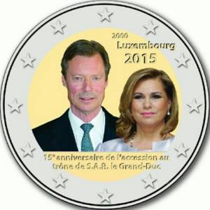 Luxembourg commemorative €2 coin 2015 - 15th anniversary of the accession to the throne of H.R.H. the Grand Duke