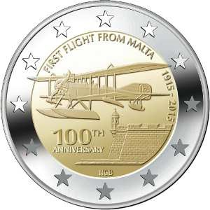 Malta commemorative €2 coin 2015 - First flight from Malta
