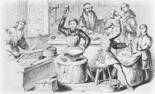 A typical scene at a late medieval mint. The man in the middle is 'hammering' designs on to blank pieces of silver or gold. This manual process, known as hammered coinage, proceeded under the management of a moneyer; it was the major method of coinmaking from 640 bc until as late as 1662. A moneyer typically kept one of every 16 pieces as his pay, so there is little onder as to why they rejected the introduction of any mechanical means of coin making until the mid-1600's. The Old Currency Exchange is Ireland's leading retailer for collectible banknotes, coins and tokens. best good shop for Irish coins and banknotes, Dublin, Ireland