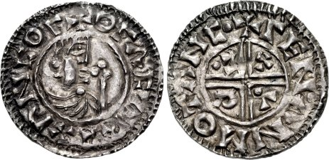 Sweden: Olof Skötkonung (the Treasurer) and the first Christian King of Sweden. 995–1022. AR Penny (22mm, 1.98 g, 3h). Sigtuna mint; Leofman, moneyer. + OΓΛF Λ REX ΛN COΓ, draped bust of Olof right; scepter before / + ΓEN•ΛN MO TΛNC• , voided short cross; C• R V X in angles, pellet in first and fourth quarters. Malmer dies 4.17/67; Person Group VI, Type A, 26; Lagerqvist 16c; Antell 8. Good VF, toned. Struck on a broad flan. Very rare