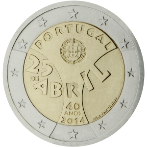 Portugal 2015 special €2 commemorative coin - 40th Anniversary of the 25th April Revolution