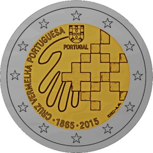 Portugal 2015 special €2 commemorative coin - 150th Anniversary of the Portuguese Red Cross