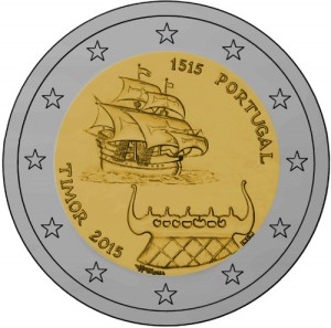 Portugal 2015 special €2 commemorative coin - 500 years of the first contacts with Timor, now independent Portuguese speaking Timor Lorosae