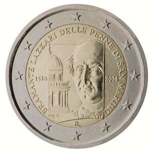 San Marino 2015 special €2 commemorative coin -   500th anniversary of the death of Bramante Lazzari delle Penne di San Marino