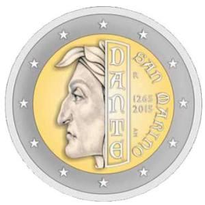 San Marino commemorative €2 coin - 750 Years since the Birth of Dante Alighieri