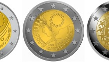 The five shortlisted coin designs for European Flag issue in 2015