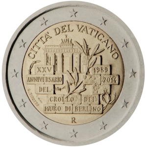 Vatican City 2015 special €2 commemorative coin - 25th anniversary of the fall of the Berlin Wall