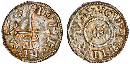 Viking Kingdom of York, Cnut, Penny, patriarchal cross, small cross patt'e, a pellet in two angles