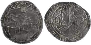 It is thought that the halfcrowns were struck in Kilkenny by the Confederate Catholics – loyal to the King rather than face the prospect of being ruled by a Puritan parliament (likely to have a very anti-Catholic agenda) from Westminster. However, in declaring for a corrupt and unpopular King, they virtually ensured a sectarian backlash.