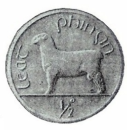 A less well known Percy Metcalfe design for the 1927 competition was the  'ram' pattern, halfpenny (from a plaster model)