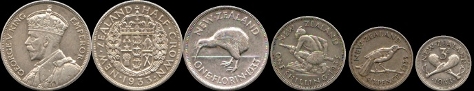 1933 New Zealand (5-coin) proof set