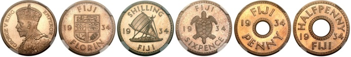 1934 Fiji (5-coin) set