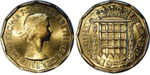 This design was replaced by a return to heraldic themes by his daughter (Queen Elizabeth II) with the 'seal of the House of Commons' reverse design for her brass threepence in 1953.