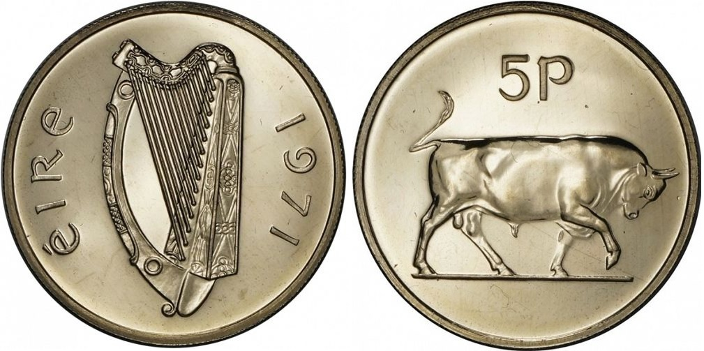 O'Brien Coin Guide: Irish Decimal Fivepence   The Old