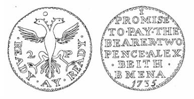 Aquilla Smith's engraving of Alex Beith's token