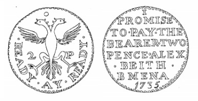 Aquilla Smith's engraving of Alex Beith's token