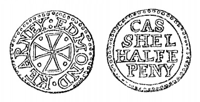 Aquilla Smith's engraving of Edmond Kearney's halfpenny token (Cashel)