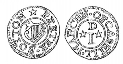 Aquilla Smith's engraving of Peter Boyton's penny token (Cashel)
