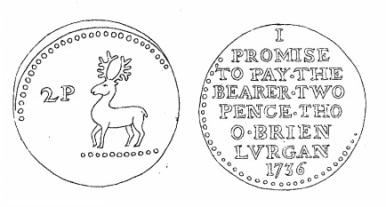 Aquilla Smith's engraving of Thomas O'Brien's token (Lurgan 1736)