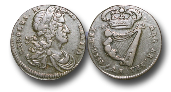 Charles II (1660-1685), Armstrong and Legge's Regal Coinage, Copper Halfpenny, 1682, CAROLVS II  DEI GRATIA, laureate draped and cuirassed bust of Charles right, rev., MAG BR FR ET HIB REX, crowned harp dividing date, (S.6575), very fine