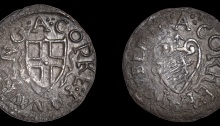 Cork, under Commonwealth authority, Farthing token, overstruck on a Double Tournois of Louis XIII