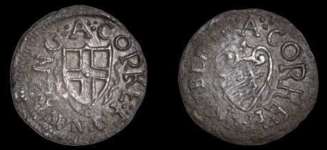 Cork, under Commonwealth authority, Farthing token, overstruck on a Double Tournois of Louis XIII, circa 1755