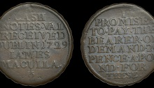 Dublin, James Maculla, Halfpenny, 1729, legend both sides