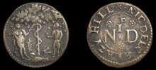 17th century Irish tradesmens' tokens - Dublin, Lazey Hill, Nic[holas] Delone, Penny