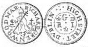 17th C tradesmens' token of Richard Greenwood, High Street, Dublin