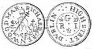 17th C tradesmens' token of Richard Greenwood, High Street, Dublin