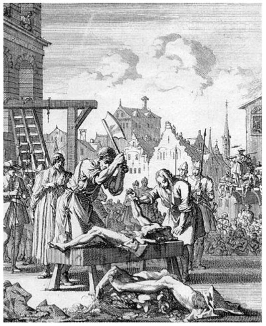 Engraving depicting the execution of Sir Thomas Armstrong in 1684 - following the Rye House Plot, in 1683, he was indicted for high treason. He fled to Cleves and thenRotterdam but was captured in Leiden and sentenced to death by Judge George Jeffreys. Armstrong was executed on 20 June 1684. His head was affixed to Westminster Hall, three of his quarters were displayed in London, and the fourth at Stafford.