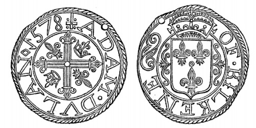 The token of Adam Dulan, bearing date 1578, is much larger than the typical 17th C tradesmens' tokens and is composed of lead. It is evidently one of the farthing tokens which were in such vogue in England in the reign of queen Elizabeth, owing to thescarcity of small change, and which were all composed of lead, whilst the penny tokens of the following century were chiefly of copper or brass.