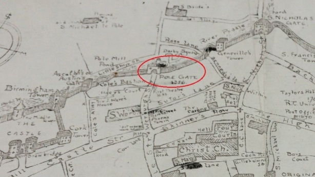"This is a map constructed by an historian - Leonard Strangeway's 1904 The Walls of Dublin. It depicts the medieval city and walls, but it was made much later. Unlike most maps, Strangeways' map is ""the other way round"" so please bear in mind here that South is ""up"" and North is ""down"". The walls and fortifications around Dublin were first in the 9th C but the defences of Dublin eventually fell into disrepair - although they continued to serve a purpose as late as 1762. In that year, an auction took place - selling the rights to collect tolls at each of the (then) seven city gates. This auction raised £4,000 for the city. St Werburgh's Gate (at that time) was also known as Le Pole Gate) and this is where Bollardt's plot of waste land was located – somewhere near the intersection of modern day Little Ship Street and Werburgh Street."