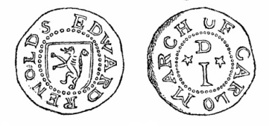 Robert Malcomson's engraving of Edward Renolds' penny token (Carlow)
