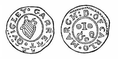 Robert Malcomson's engraving of Garrett Quigley's penny token (Carlow)