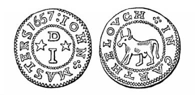 Robert Malcomson's engraving of John Masters' penny token (Carlow, 1657)