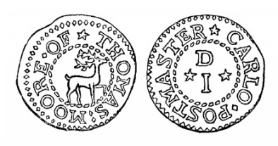 Robert Malcomson's engraving of Thomas Moore's penny token (Carlow)