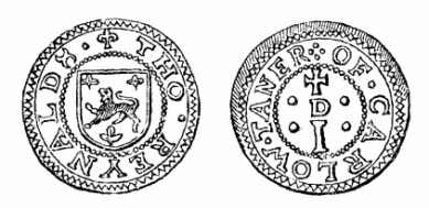 Robert Malcomson's engraving of Thomas Reynald's penny token (Carlow)