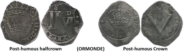 The Ormonde issues of 1643-44 were followed by a so-called 'post-mortem' issue in 1649 (after the death of King Charles I). These are recognisably different insofar as the central design is surrounded by various legends close to the rim. Equally crude in their method of minting, these coins are seldom found in better than Fine grade and often have faults.